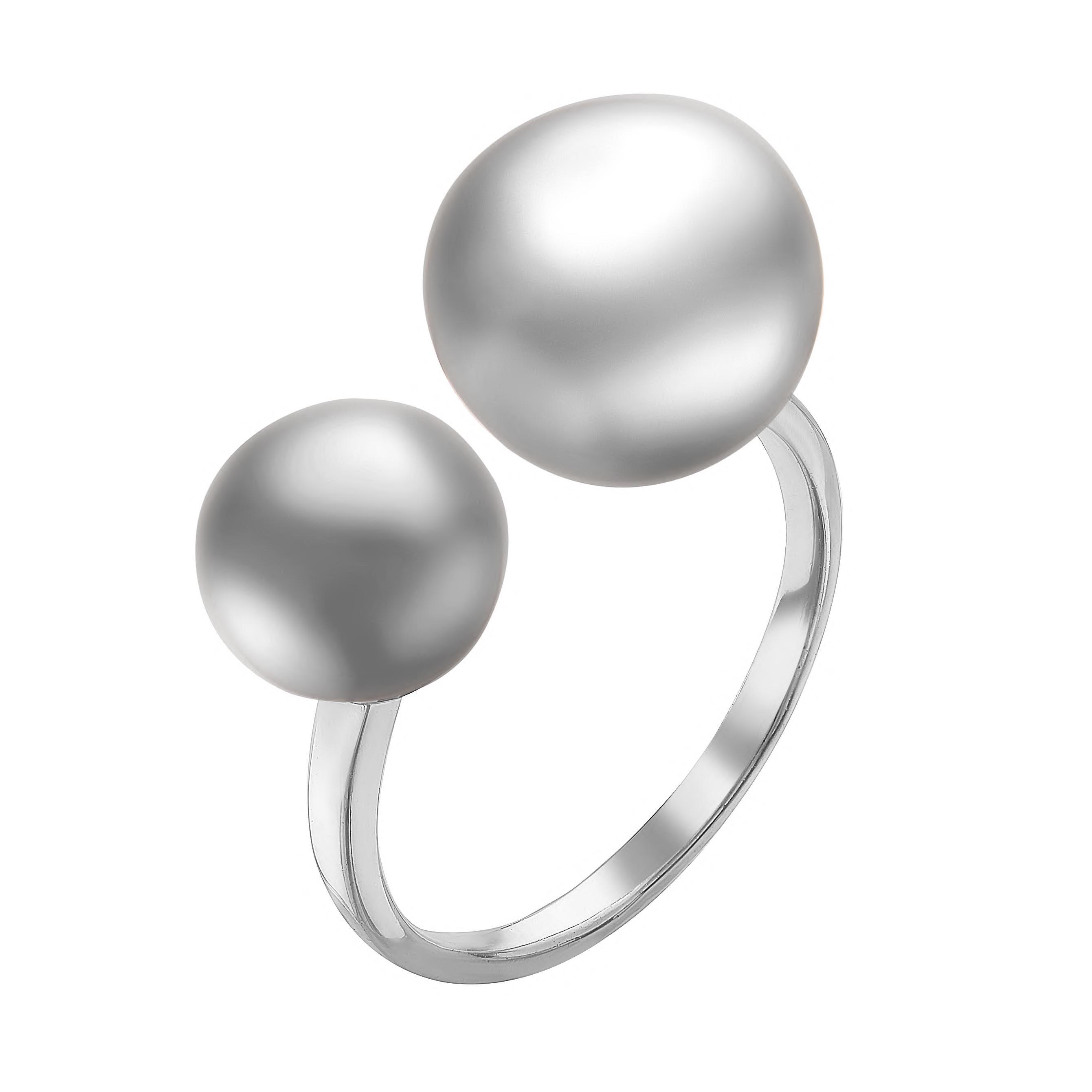 Кольцо из серебра с серебристыми речными жемчужинами