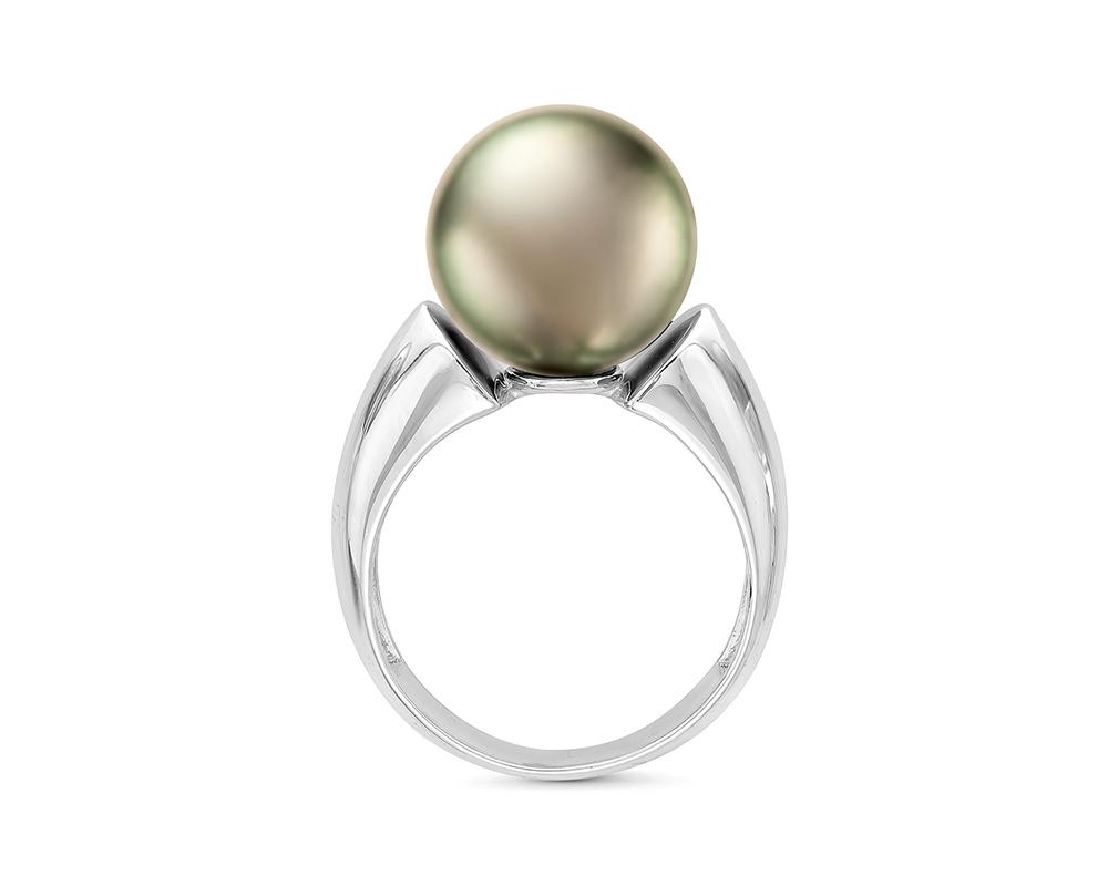 """Кольцо """"Тайна Востока"""" из белого золота с морской Таитянской жемчужиной 13-13,5 мм"""