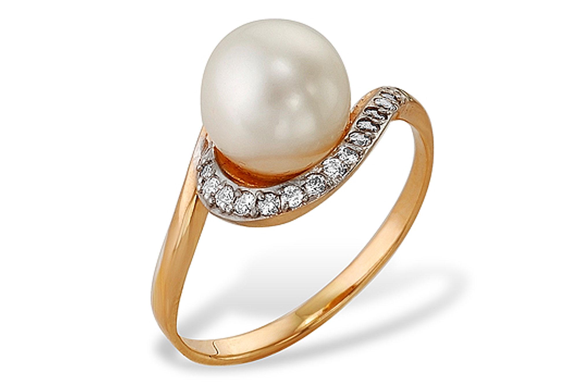 Кольцо из красного золота 585 пробы с белой жемчужиной 8,5-9 мм