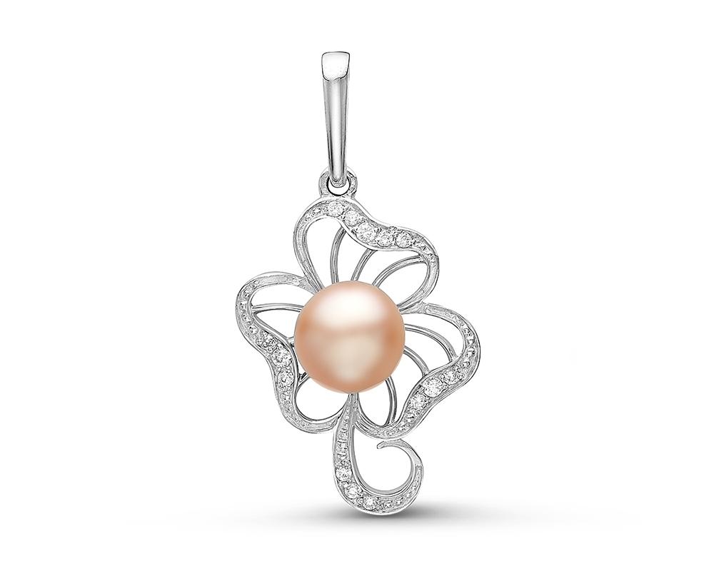 Кулон из серебра с розовой круглой жемчужиной 7-7,5 мм