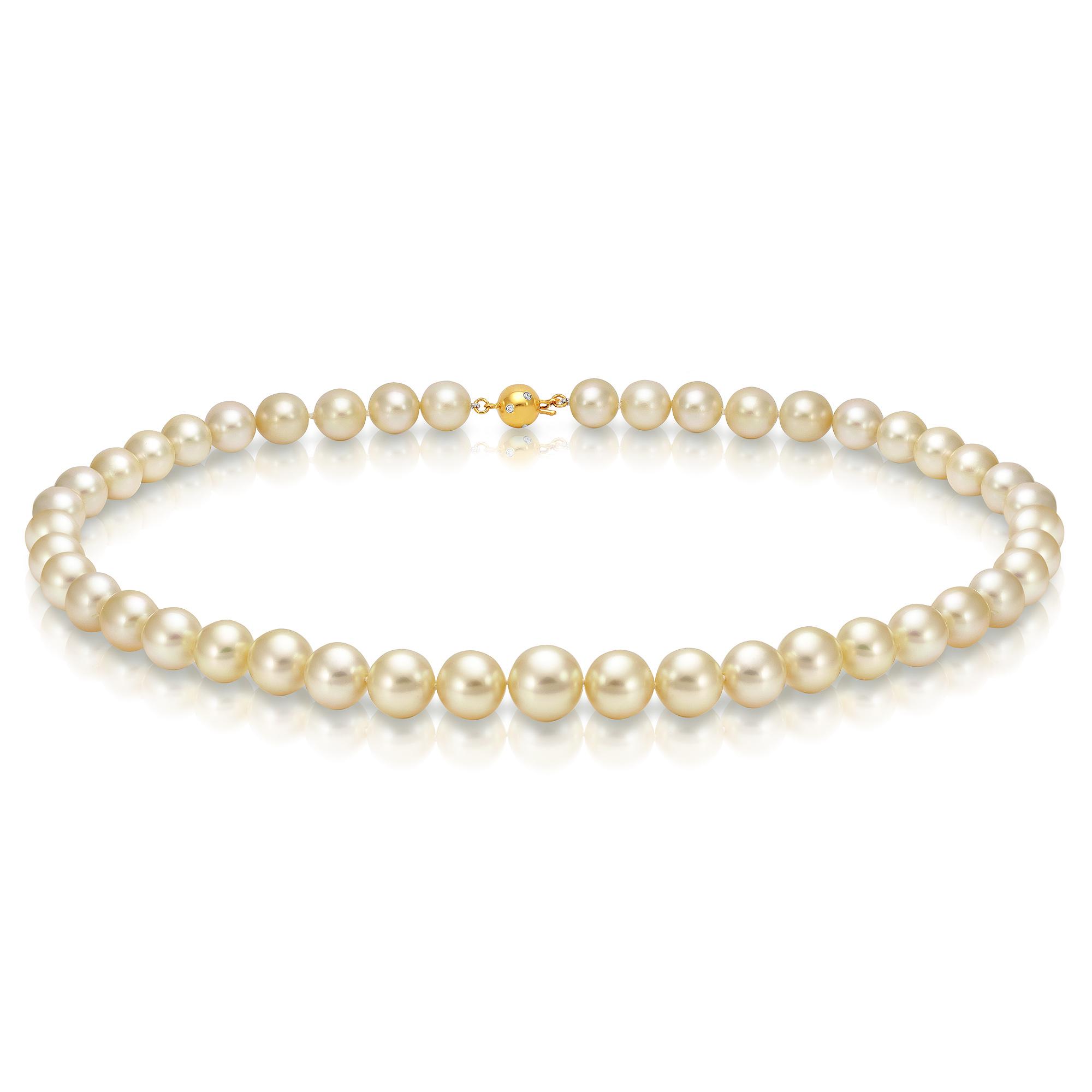 Ожерелье из золотого морского Австралийского жемчуга 10-12,1 мм