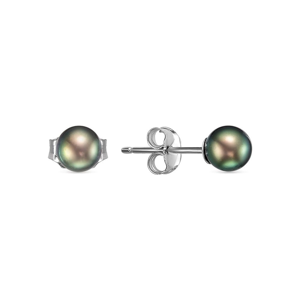 Пусеты на серебре с черными речными жемчужинами. Жемчужины 5-5,5 мм