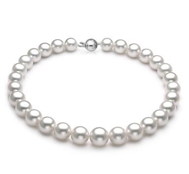 Ожерелье из белого круглого морского Австралийского жемчуга 13,1-14,9 мм
