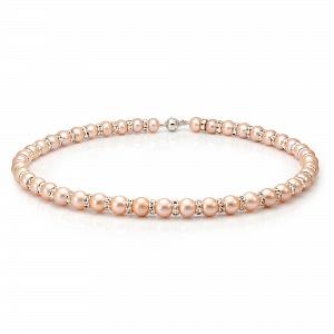 Ожерелье из розового круглого жемчуга со стразами. Жемчужины 9-10 мм