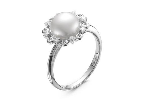 Кольцо из серебра с белой речной жемчужиной. Жемчужина 8,5-9 мм