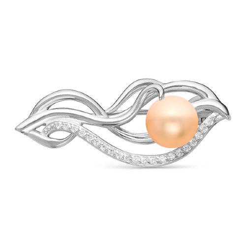 Брошь из серебра с розовой речной жемчужиной 8,5-9 мм