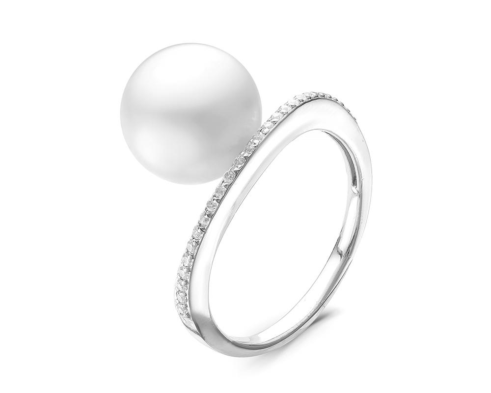 Кольцо из серебра с белыми речными жемчужинами 10,5-11 мм
