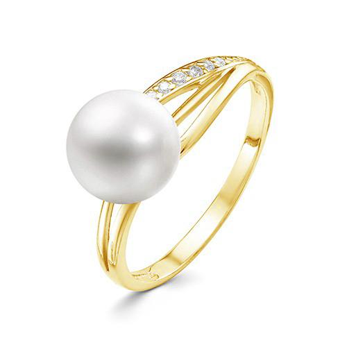 Кольцо из желтого золота 585 пробы с белой жемчужиной 7,5-8 мм