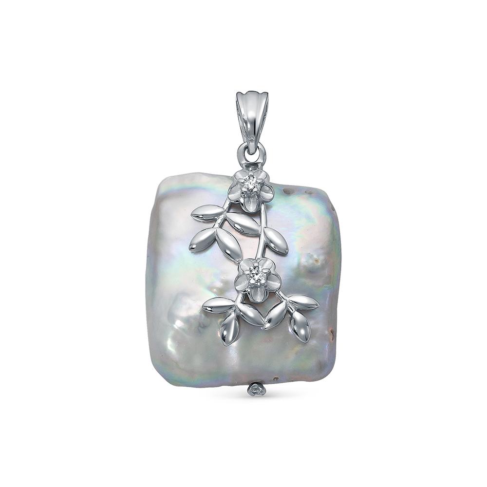 Кулон из серебра с серебристой барочной жемчужиной 20 мм