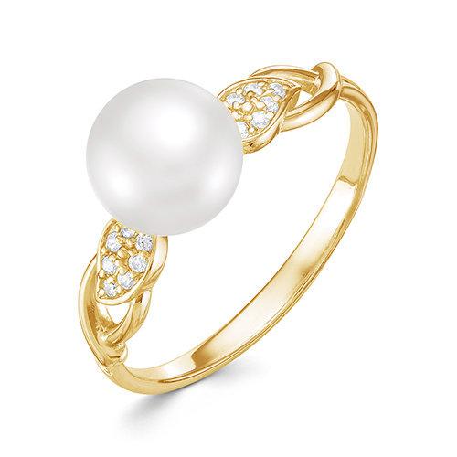 Кольцо из желтого золота с белой речной жемчужиной 9,5-10 мм