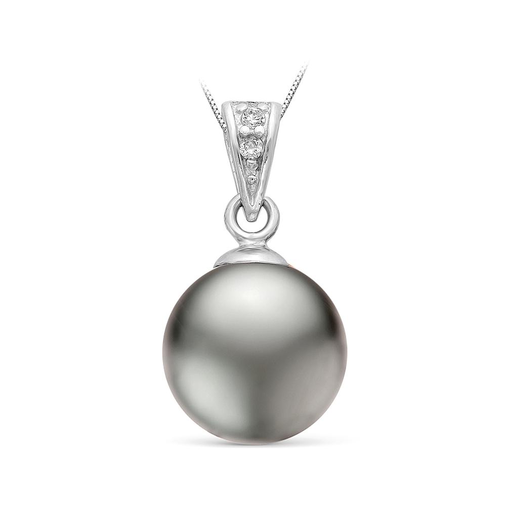 """Кулон из серебра с серебристой жемчужиной """"Майорика"""" 14 мм"""