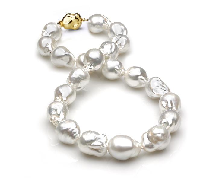 Ожерелье из белого барочного морского Австралийского жемчуга 11-14,8 мм