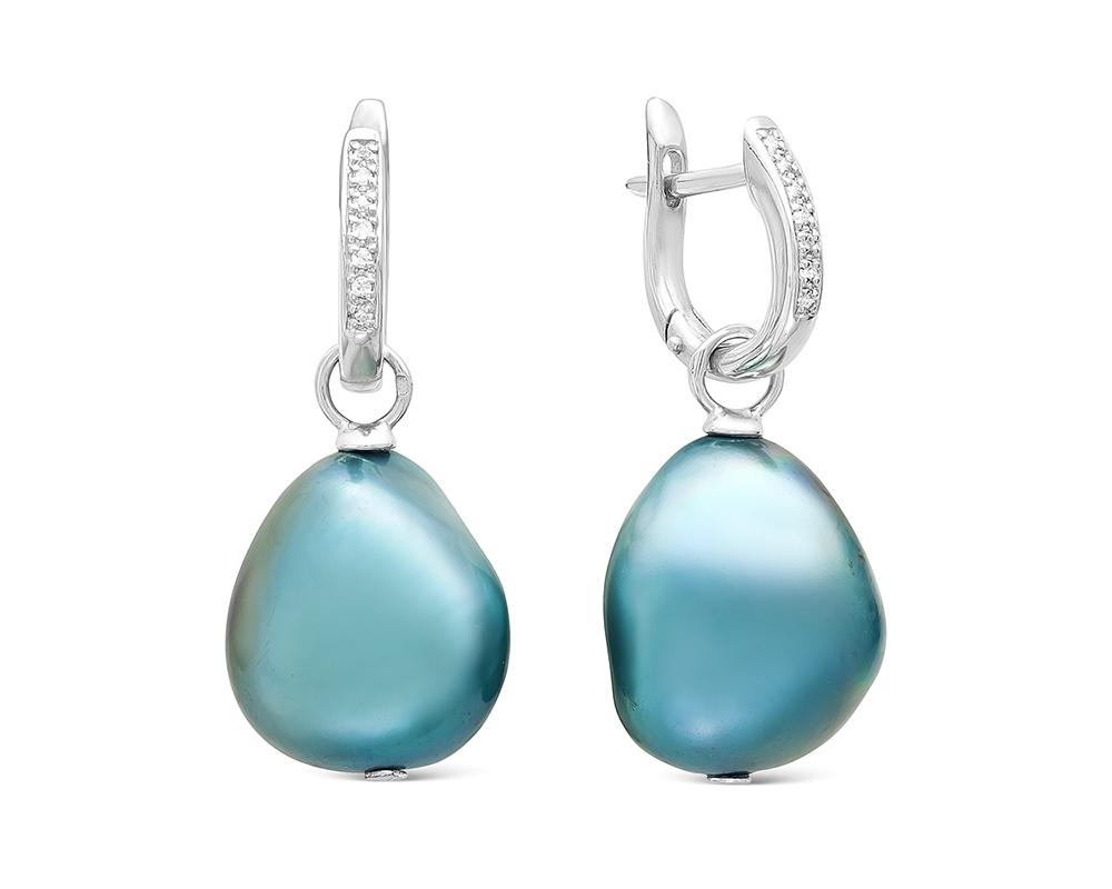 Серьги из серебра с голубыми барочными жемчужинами. Жемчужины 13-16 мм