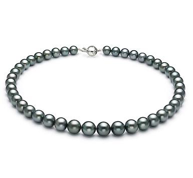 Ожерелье из черного круглого морского Таитянского жемчуга 11-12 мм