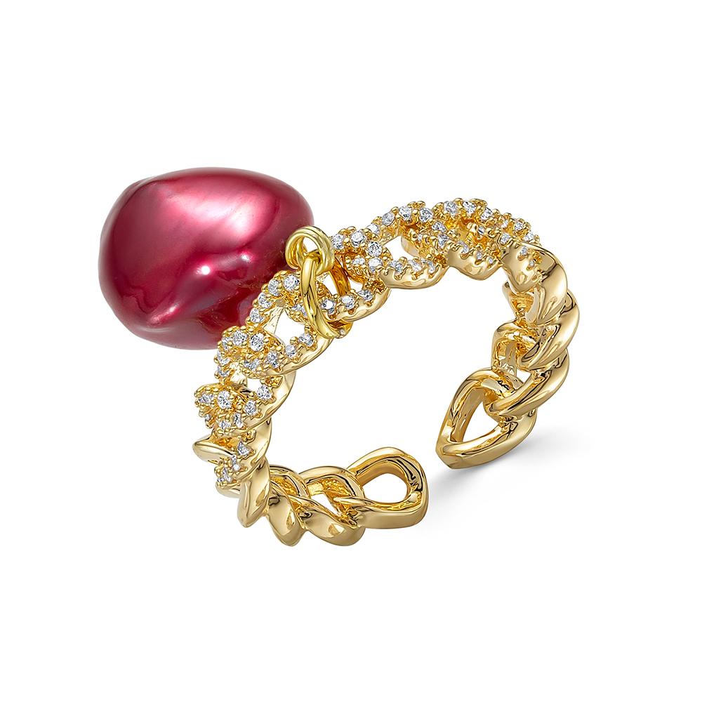 Кольцо из ювелирного сплава с красным барочным жемчугом 11-12 мм
