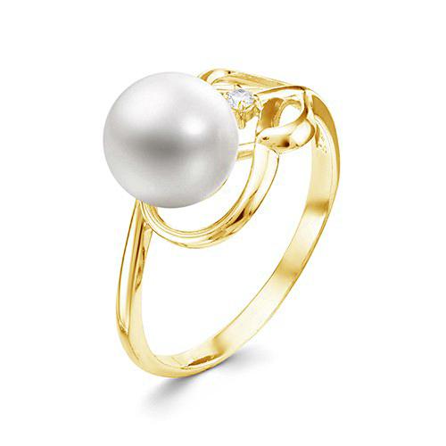 Кольцо из желтого золота с белой речной жемчужиной 7,5-8 мм