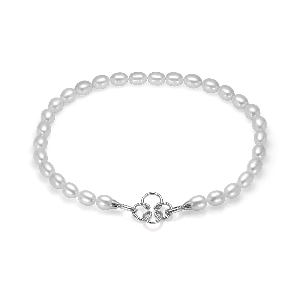Ожерелье из 30 жемчужин из белого рисообразного речного жемчуга