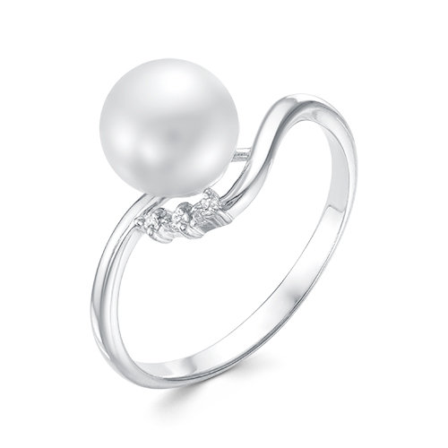 Кольцо из белого золота с белой речной жемчужиной 8-8,5 мм
