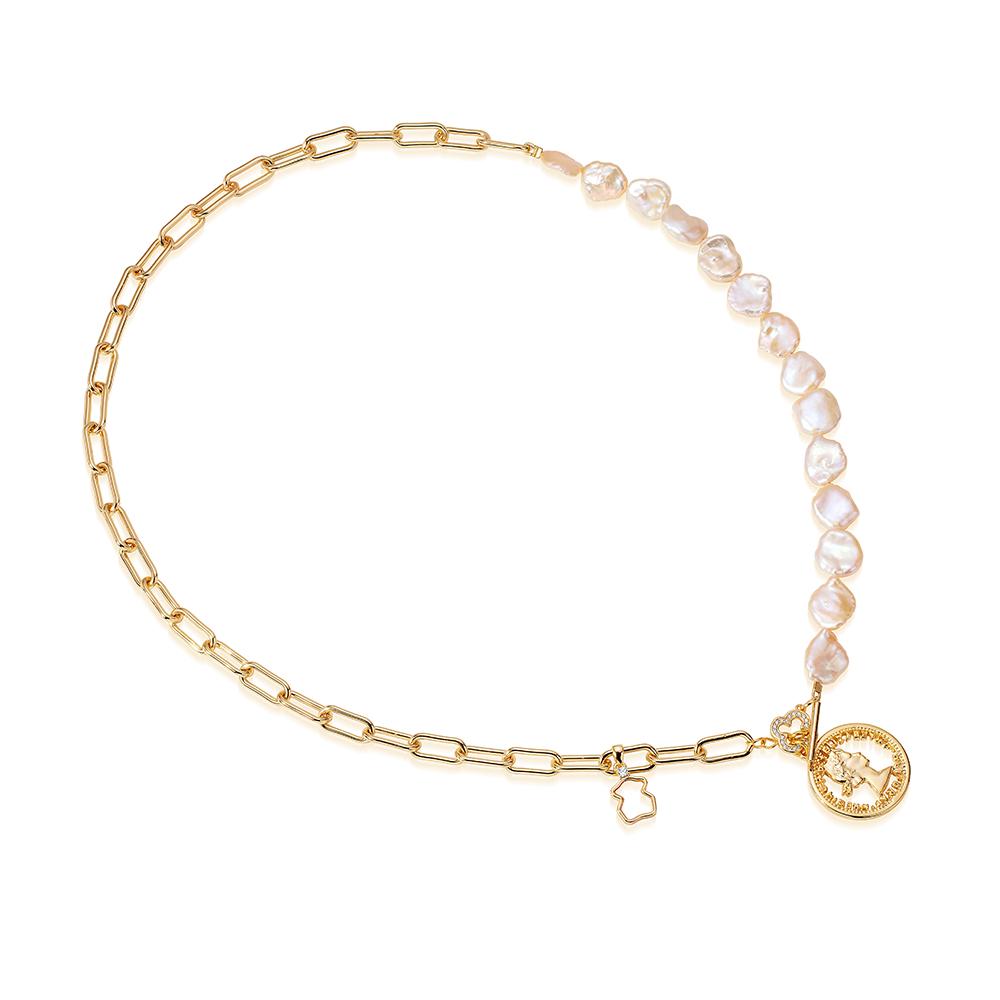 Цепочка-колье из ювелирного сплава с розовым барочным жемчугом 10 мм