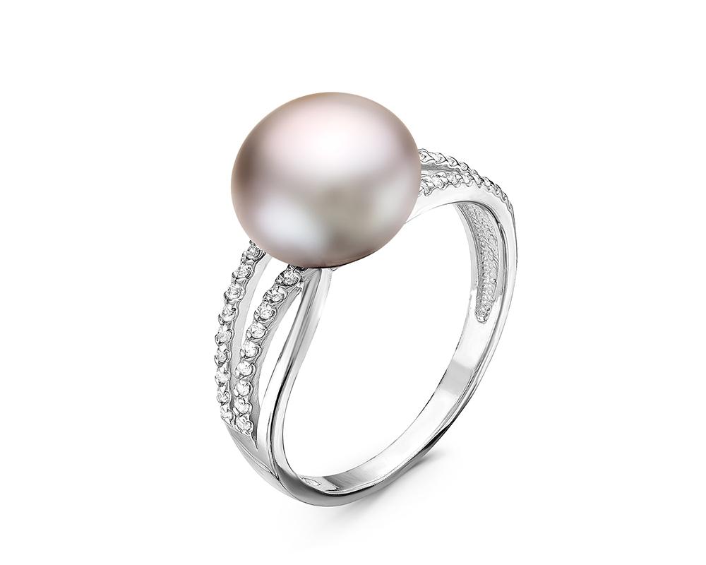 Кольцо из серебра с серебристой речной жемчужиной. Жемчужина 10-10,5 мм