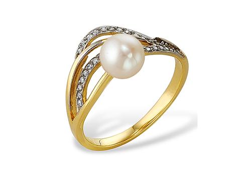Кольцо из серебра 925 пробы с белой жемчужиной 7-7,5 мм