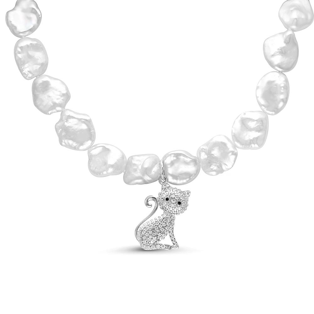 Детское ожерелье с подвеской. Белый жемчуг 9-11 мм