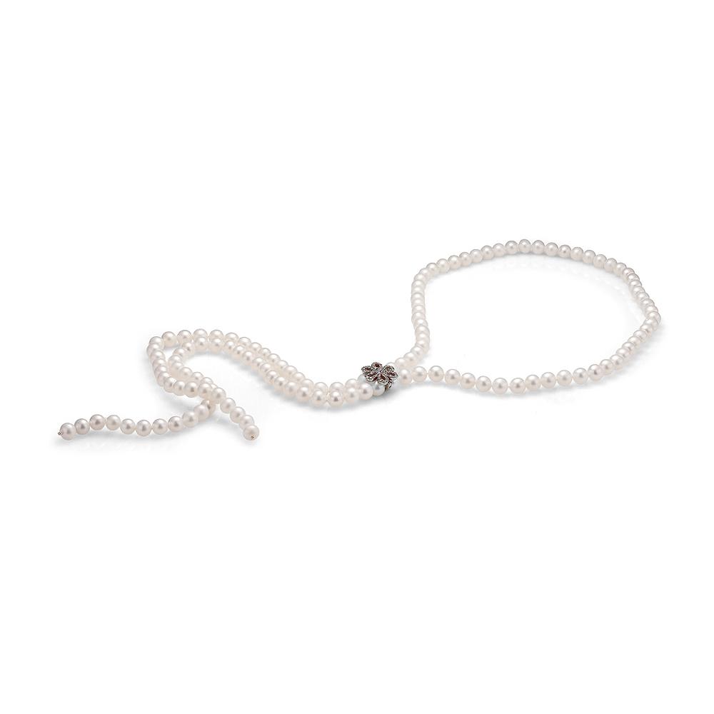 """Ожерелье """"галстук"""" из белого речного жемчуга с застежкой """"Цветок"""""""