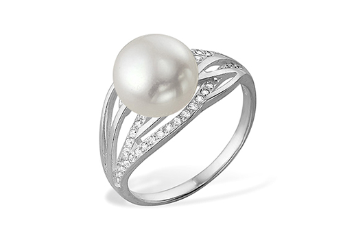 Кольцо из белого золота с белой речной жемчужиной 8,5-9 мм