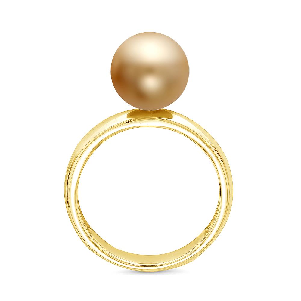 Кольцо из серебра с золотистой морской Австралийской жемчужиной 10,6-10,9 мм