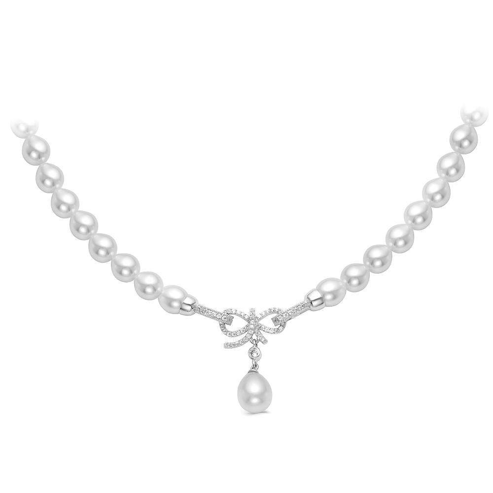 Ожерелье из белого рисообразного жемчуга 7,5-8 мм с кулоном из серебра