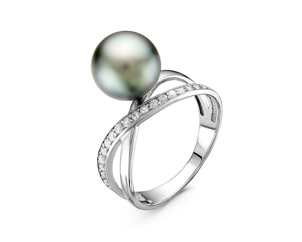 Кольцо из серебра с серебристой морской Таитянской жемчужиной 9-9,5 мм