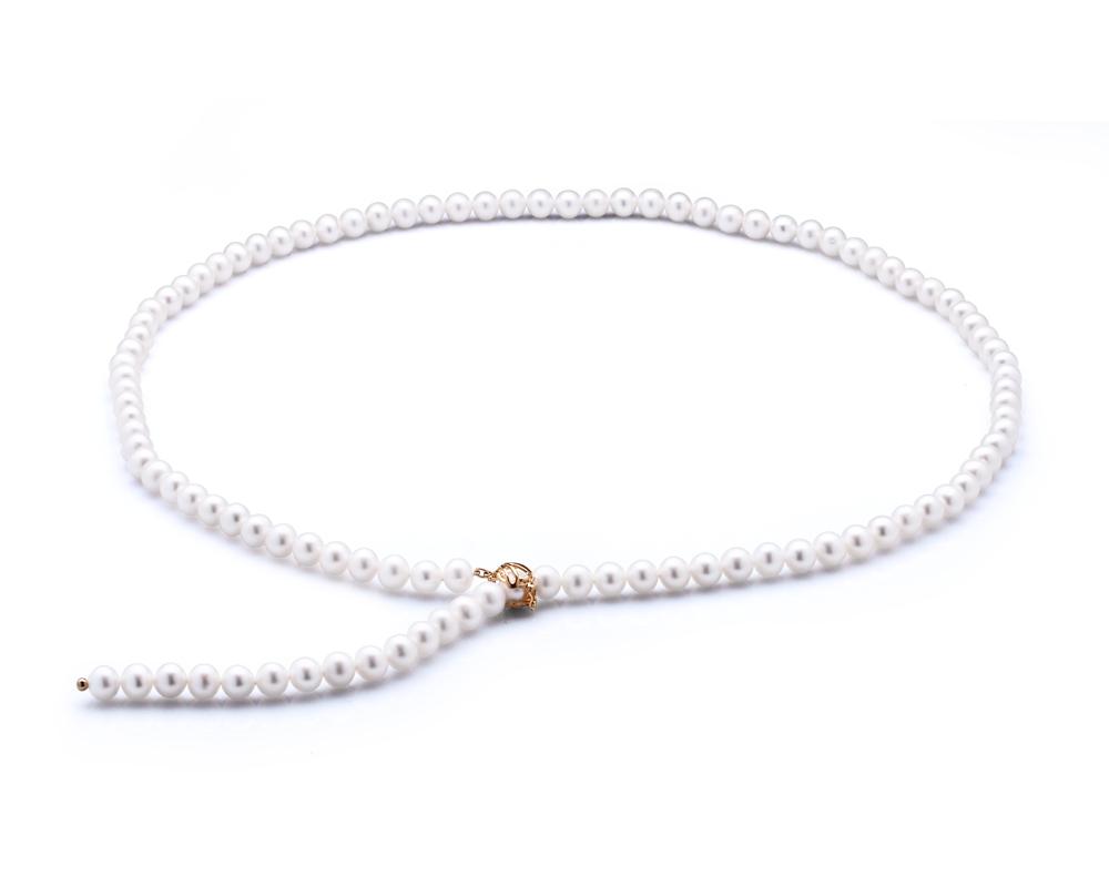 """Ожерелье """"галстук"""" из белого круглого речного жемчуга 7,5-8 мм"""
