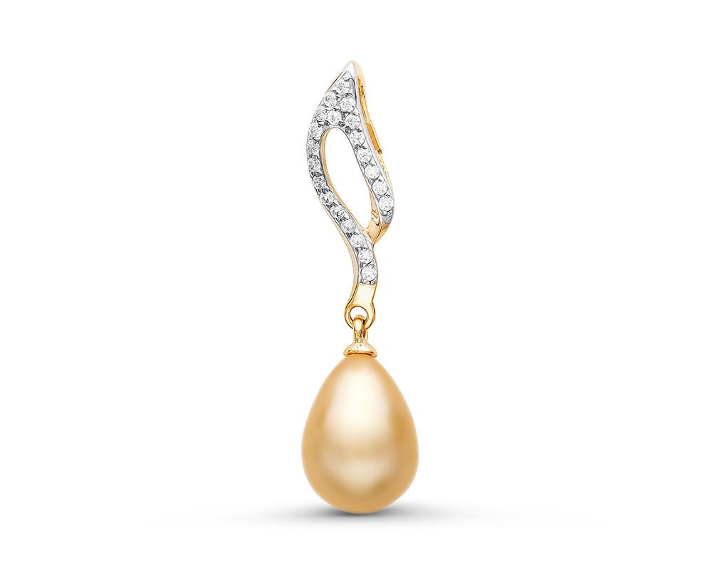 Кулон из серебра с золотистой каплевидной речной жемчужиной 8-8,5 мм