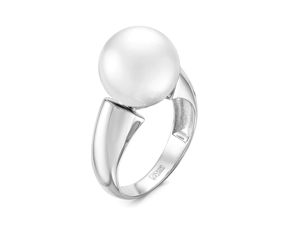 Кольцо из серебра с белой японской речной жемчужиной 12-13 мм