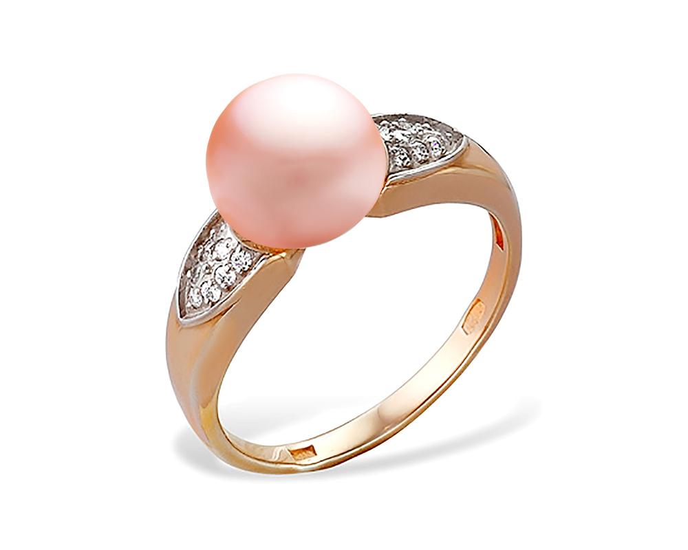 Кольцо из серебра с розовой речной жемчужиной 7,5-8 мм