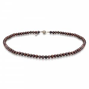 Ожерелье из черного круглого речного жемчуга. Жемчужины 4,5-5 мм