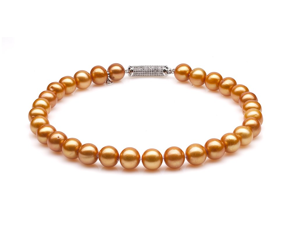 Ожерелье из 30 жемчужин из золотистого круглого речного жемчуга. Жемчуг 12-13 мм