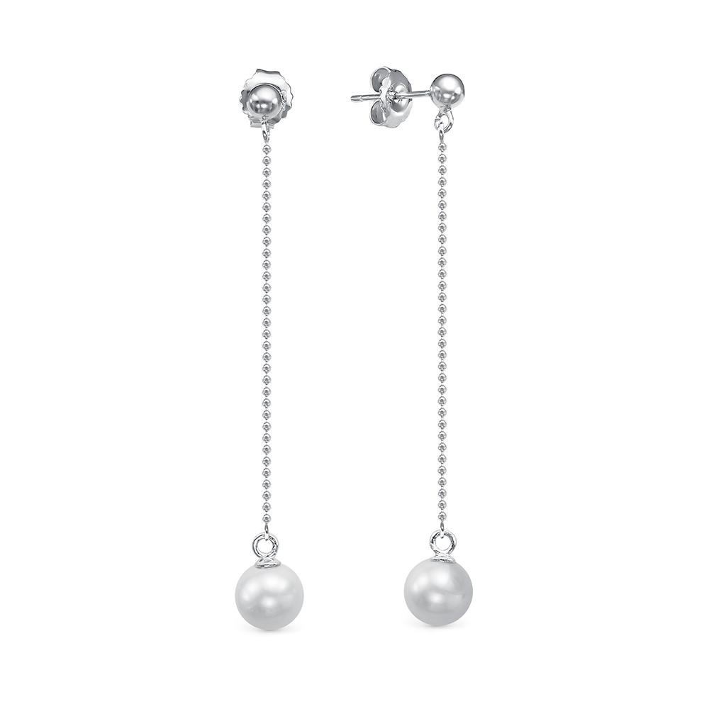 Серьги на цепочке из серебра c белыми речными жемчужинами 7,5-8 мм