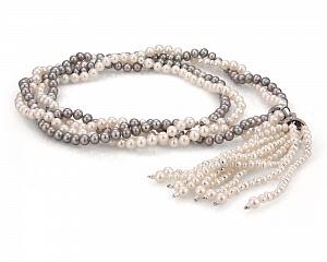 Ожерелье из речного жемчуга с подвеской из серебра 925 пробы. Жемчужины 5-5,5 мм
