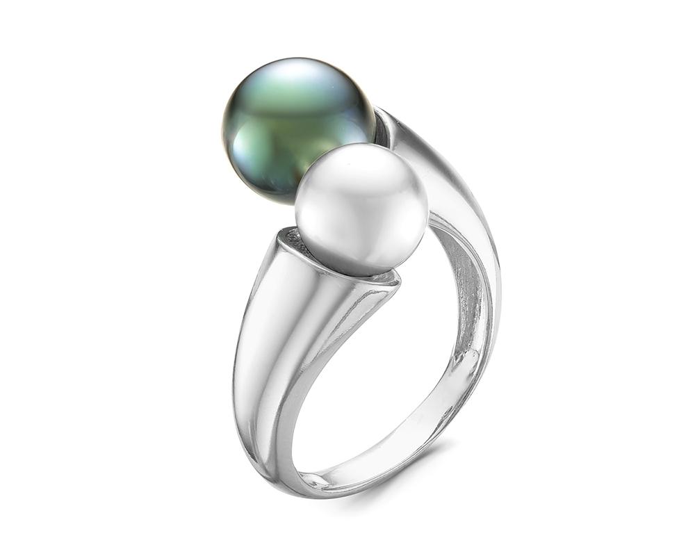Кольцо из серебра с морской Таитянской и белой речной жемчужинами 7,5-10 мм