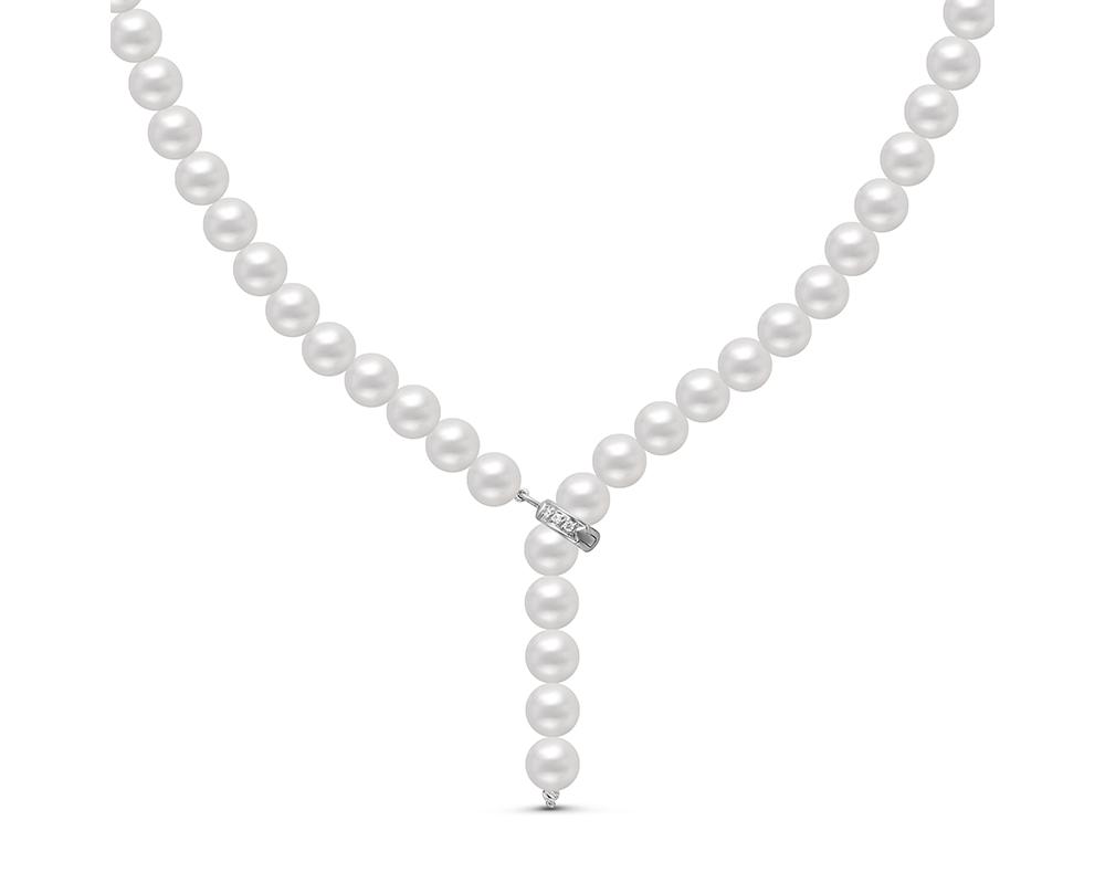"""Ожерелье """"галстук"""" из белого круглого речного жемчуга 8-8,5 мм"""