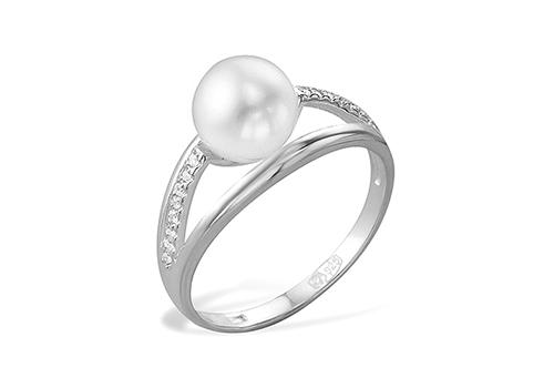 Кольцо из белого золота 585 пробы с белой жемчужиной 9,5-10 мм