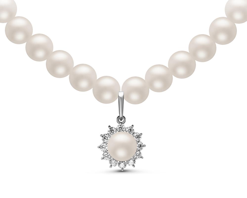 Ожерелье из белого жемчуга с подвеской из серебра. Жемчужины 8-8,5 мм