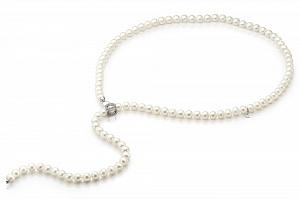 """Ожерелье """"галстук"""" из белого круглого жемчуга. Жемчужины 9-10 мм"""