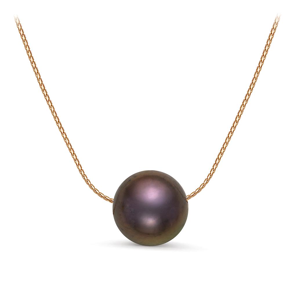 Цепочка из серебра 925 пробы с черной круглой речной жемчужиной 9,5-10 мм