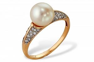 Кольцо из красного золота с белой речной жемчужиной 9-9,5 мм
