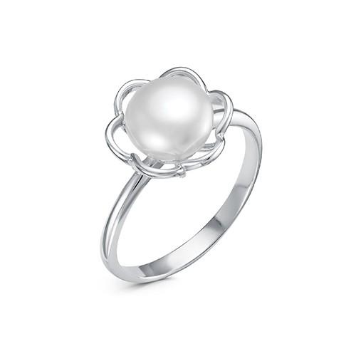 Кольцо из серебра с белой речной жемчужиной. Жемчужина 7,5-8 мм