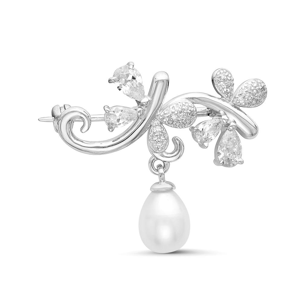 Брошь из серебра с белой речной жемчужиной 7,5-8 мм
