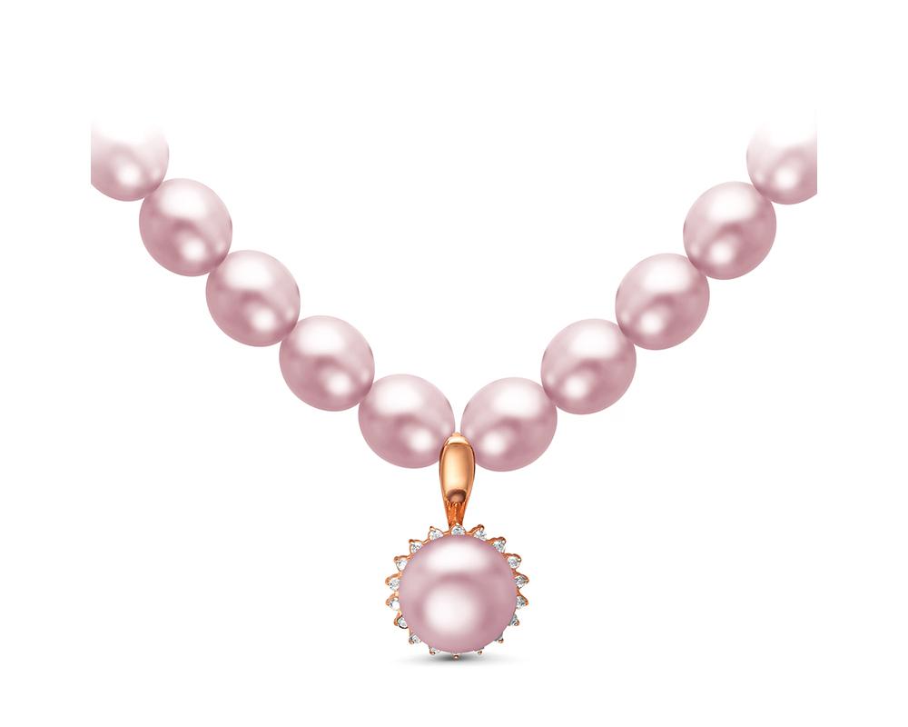 Ожерелье из лавандового жемчуга с подвеской из серебра. Жемчуг 7,5-8 мм