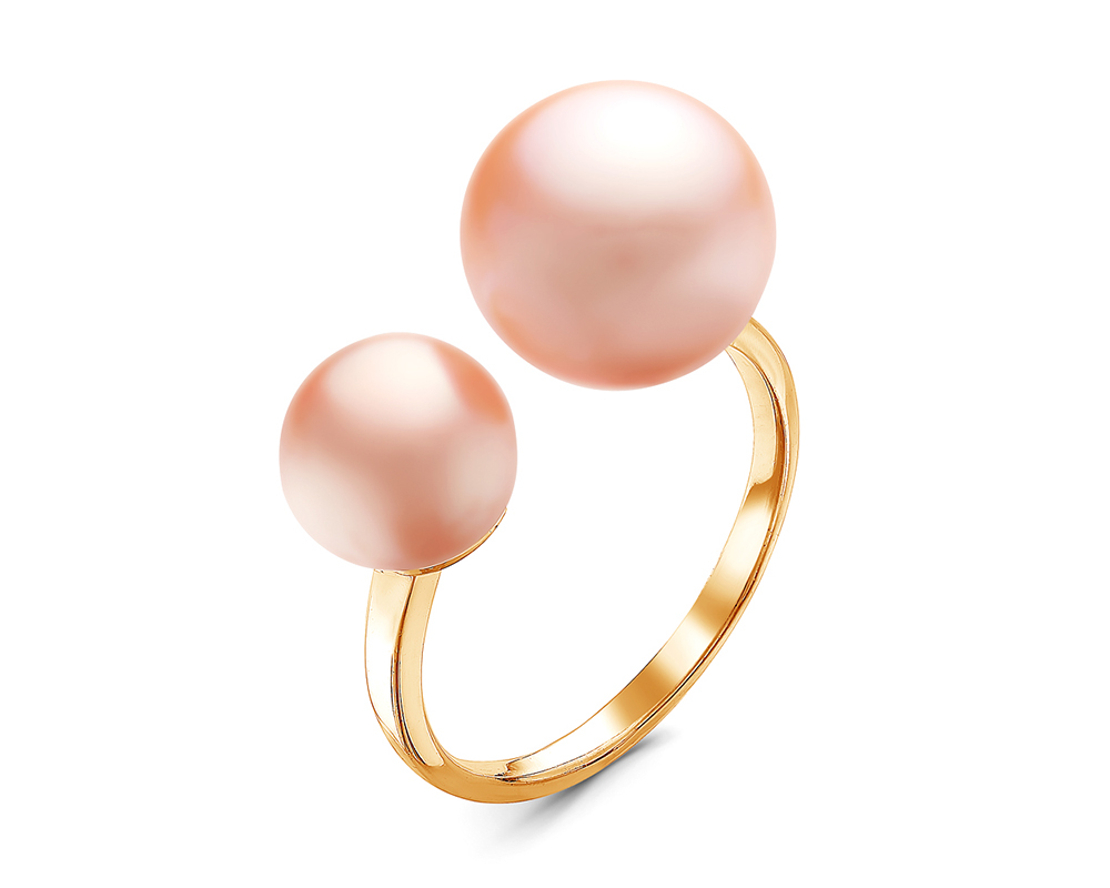 Кольцо из серебра с розовыми речными жемчужинами. Жемчужины 7-10 мм
